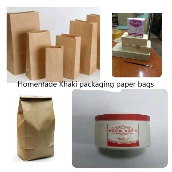 Homemade khaki paper bags